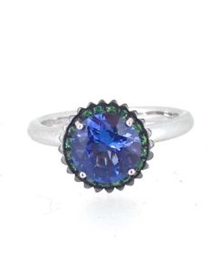 Capriotti Gioielli: cupcake-shaped ring, black rhodium on the tsavorites, 18 kt white gold - 2.26 ct tanzanite, 0.13 ct tsavorites