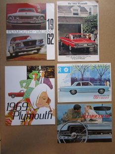 PLYMOUTH - Lot de 5  brochures originales Fury, Belvédère, Savoy, Valiant, Station wagons, Satellite, Signet, Barracuda, GTX de 1962 à 1969