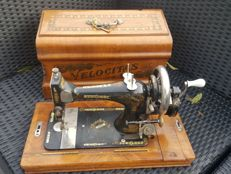 Velocitas sewing machine with original wooden case and key Germany, ca.1900