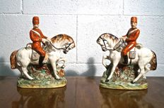 """Staffordshire - Pair of figurines """"equestrian Kent riders"""""""