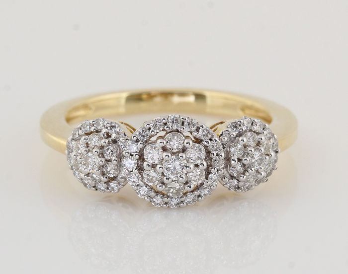 18 kt yellow gold diamond ring of 0.50 ct G-H / VS-SI / ring size: 54.5 / weight: 4.70 g