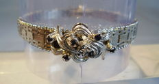 Art Deco bracelet silver with natural sapphires and diamond