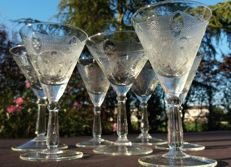 Set of 7 pieces in cut and chiselled crystal. Baccarat, France - circa 1880-1900