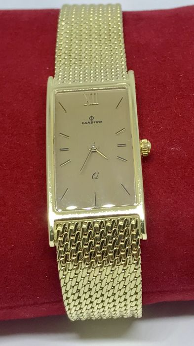 Candini - Gold women's wristwatch with a gold strap, 1990s