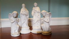 Beautiful Antique late 1800's French Parian Porcelain Figurine of Madonna with Child Jesus Bisque,two angels and Saint Joseph