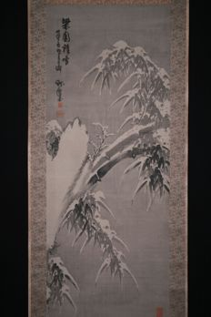 "scroll painting ""Snow and Bamboo"" - Japan - late 19th century"