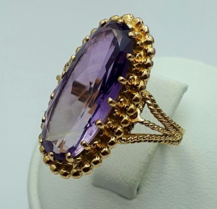 18 Ct Yellow Gold Vintage Amethyst Ring,  size:17.5mm, Total Weight 7.66g ****NO RESERVE PRICE***