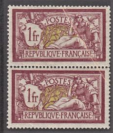 France 1900 - 1fr wine-coloured pair accordion fold - Yvert no. 121
