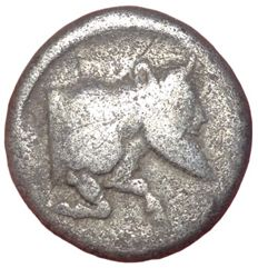 Greek Antiquity - Sicily, Gela c. 490-475 BC - AR Didrachm (Silver; 19,5mm; 7,91gm.) - Horseman / Forepart of man-headed bull - SNG Cop. 12; Jenkins Group I, 11.