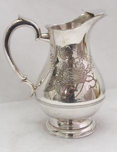 Fine Quality Silver Plated Large Patterned Water Jug