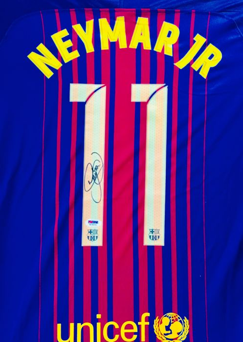 Neymar #11 / FC Barcelona - Authentic & Original Signed Home Jersey - with Certificate of Authenticity PSA/DNA