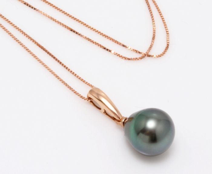 No reserve price - 14 karaat Rose Gold - 10x11mm Peacock Tahitian Pearl Drop - Halsketting met hanger