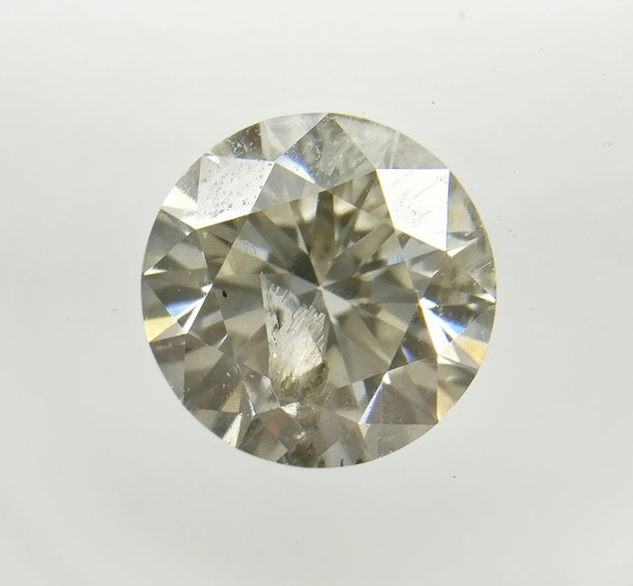 1.00 ct Round cut diamond Fancy Light Yellowish Gray I1  -No Reserve