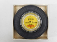 Very Rare Boxed and Unused Vredestein PAC Jubileum Rallye 1961 Rubber Tyre Glass Ashtray