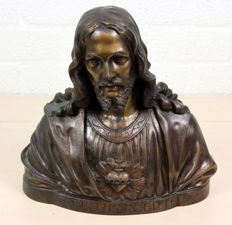 "Large antique bronze bust ""Jesus Christ"" - the Netherlands - c. 1900"