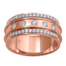 18Kt. Solid Pink gold wide wedding band ring set with diamonds 0.40ct Gh colour and SI clarity , Size 54/N
