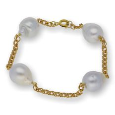 750/1000 (18 kt) yellow gold - bracelet - South Sea baroque pearls measuring 10.80 mm - length 19 cm