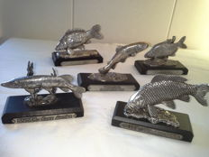 Five silver plated fish miniatures