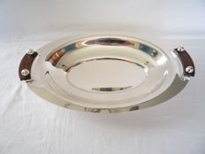 Silver plated dish Art Deco with rose wood handles, France, ca.1930
