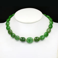 18k/750 yellow gold necklace with emeralds - Length 46 cm