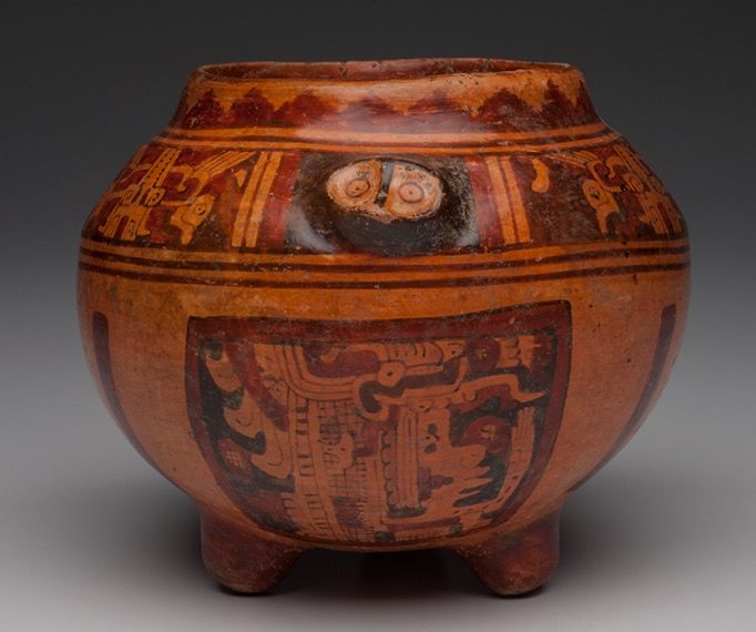 Pre-Columbian Maya Ulua polychrome decorated pottery copador - Honduras - 16 cm