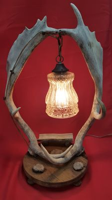 Antler table lamp with glass chalice shade