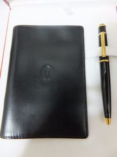 Cartier Diabolo Black Composite Gold plated Ball Pen & Card Holder/Notepad Set