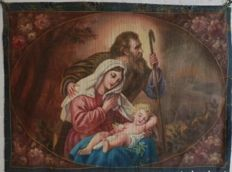 "A hand painted tapestry depicting The Holy Family -""succo d'erba"" or similar technique - Spain - circa 1900"