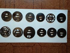 Set of 12 Tsuba iron and bras - 17th - 19 th century ( edo period )