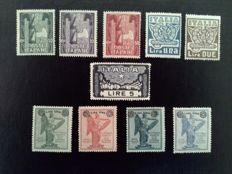 "Italy, Kingdom, 1923/1924 – 2 complete series ""Marcia su Roma"" (""March on Rome"") and ""Anniversario Vittoria"" (""Victory Anniversary"") – Sass. No. S.26 and S.30."