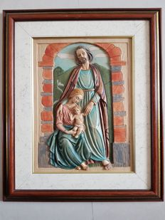 Hand-painted sculpture Saint Mary and baby (Jesus) and Joseph - Italy