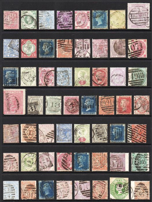 Great Britain, Queen Victoria - Collection of 56 Surface Printed and Line Engraved Stamps on Stock Page