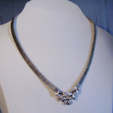 Art Deco necklace natural blue sapphire and diamond