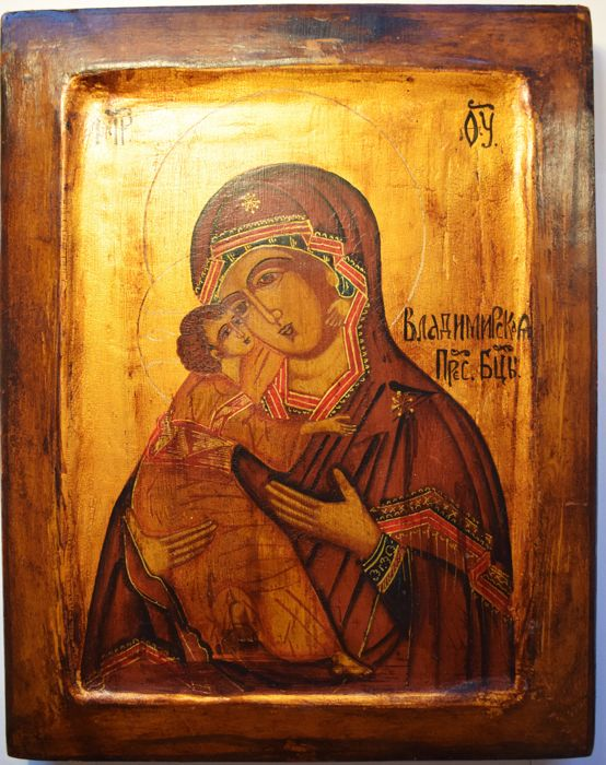 Russian orthodox iсon,  Our Lady of Vladimir , hand painted, tempera, wood, XX th century.