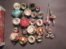 25 antique glass Christmas decorations (baubles) with indentations - in a good condition