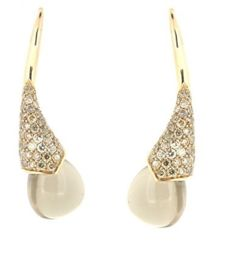 Capriotti Gioielli: 18 kt rose gold earrings in the shape of a calla lily - 20.00 ct smoky quartz, 1.05 ct fancy brown diamonds