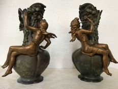 Charles Georges Ferville-Suan (1847-1925) - set of Art Nouveau patinated metal vases decorated with figurine
