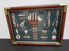 Sublime Collection of Sailor's Knots in Authentic Frame with Glass