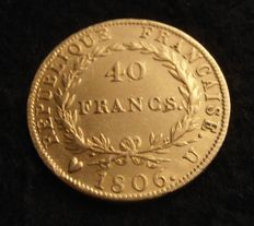 France – 40 Francs 1806 U 'Turin' – Napoléon I – Gold.