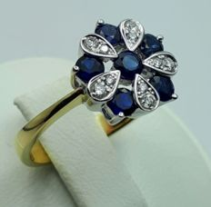 18 Ct Yellow and White Gold Ring with natural Sapphire and Diamonds, Size 17mm,  Total 3.66g