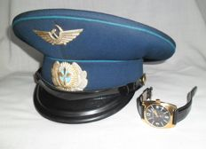 "Cap of the pilot of the airline ""Aeroflot""(USSR) and wristwatch ""Special order of the Ministry of Defense of the USSR"" Chistopol, Au 10.  1972-1974."