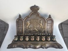 jewish judaica brass silver plated menorah chanukiah lamp made in israel 1950
