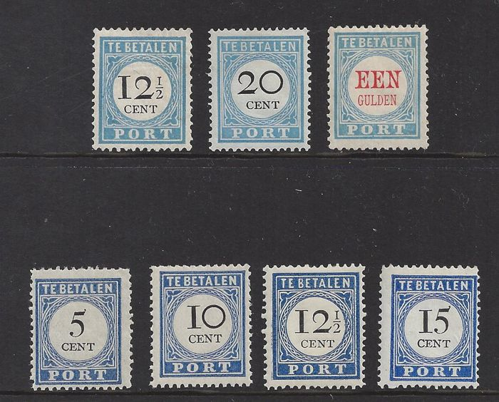 The Netherlands 1881/18 - Postage due number and value black - NVPH P8, P10, P12, P19a, P22a, P23 and P24a