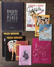 Variety theatre; Lot with 9 French programmes of Folies Bergère, Casino de Paris, Ballets de Paris - 1950s / 1970s