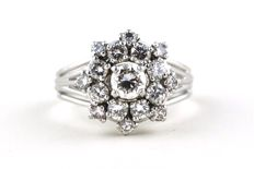 Superb Flower Pattern Diamond Ring with 17 Diamonds (Total +/- 1.55CT G Color/VS-VVS Clarity) set on 18k White Gold