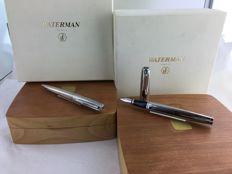 Waterman Exception Sterling Silver set fountain pen and ballpoint pen + 2 pear wood boxes. Rare.