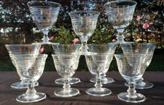 Baccarat, set of 11 pieces in cut and chiselled crystal.