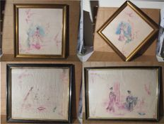 Four drawings on silk depicting 4 geishas - Japan - 20th century
