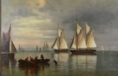 G Wilson (19th century) - Fishing boats and other vessels at dawn.