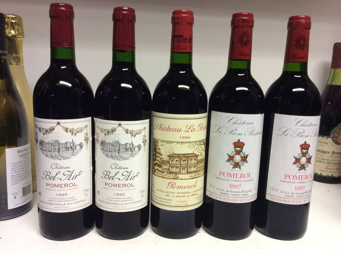 1995, 1996 & 1997 Pomerol Lot,  1995 Chateau Bel-Air,  1996 Chateau La Pointe,  1997 Chateau Le Bon Pasteur, Pomerol, France , 5 bottles 0,75l